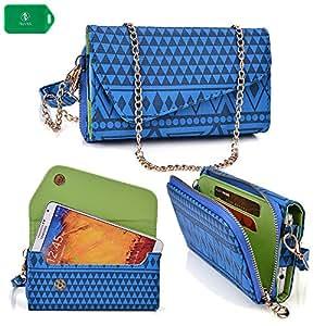 Lenovo P780 | Ladies smartphone holder plus wallet w/ crossbody chain| blue design|universal