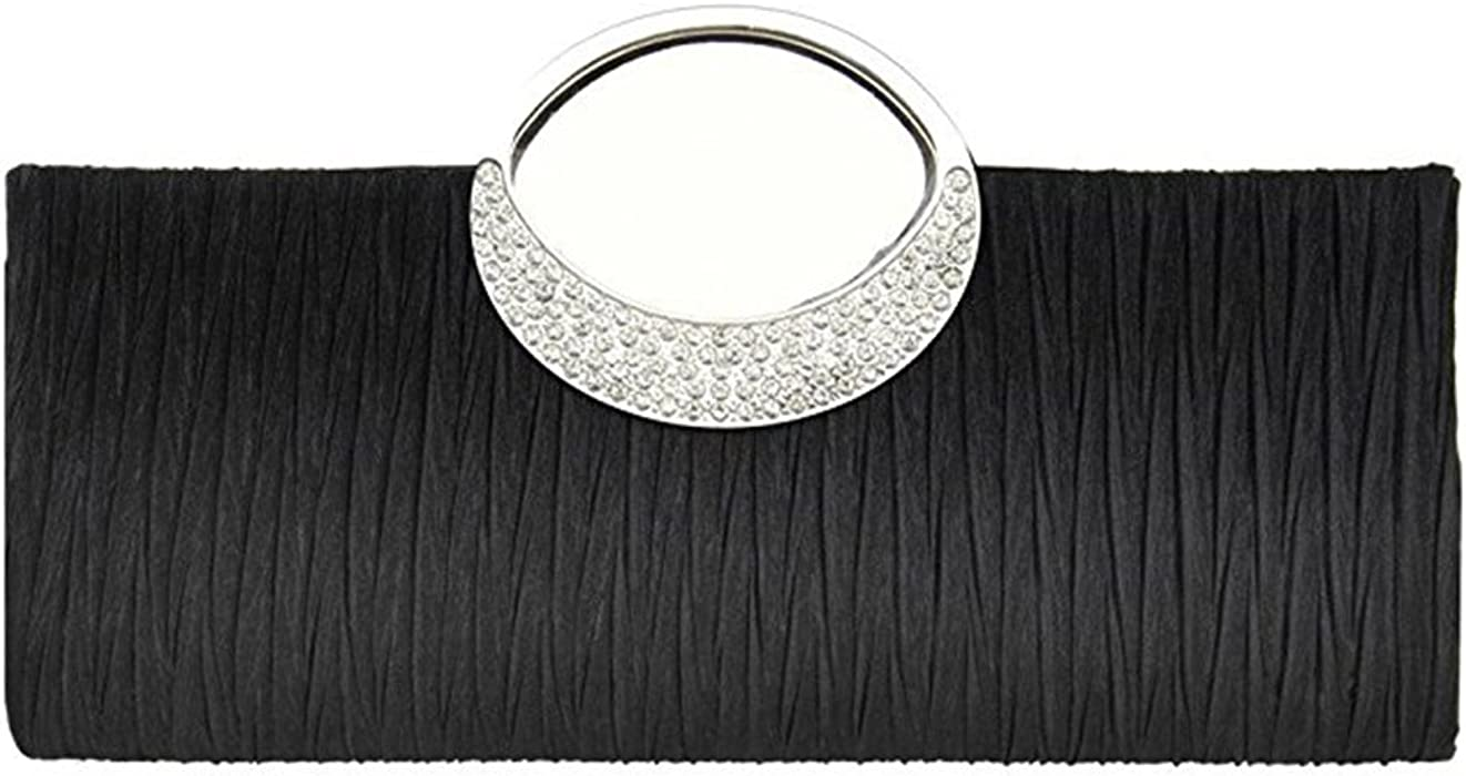 Tinksky Bolso cartera noche boda fiesta monedero embrague de diamantes de imitación satén plisado bolso de lujo, regalos para las madres o de regalo para ...