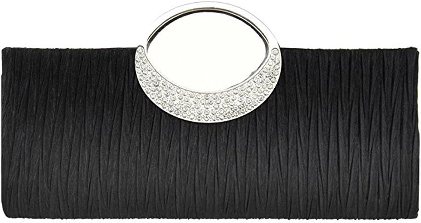 Tinksky Bolso cartera noche boda fiesta monedero embrague de diamantes de imitación satén plisado bolso de lujo, regalos para las madres o de regalo ...