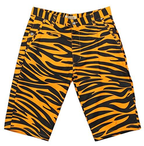 Access Men's Casual Slim Fit Colored Animal Print Chino Shorts Zebra-Orange 32 ()