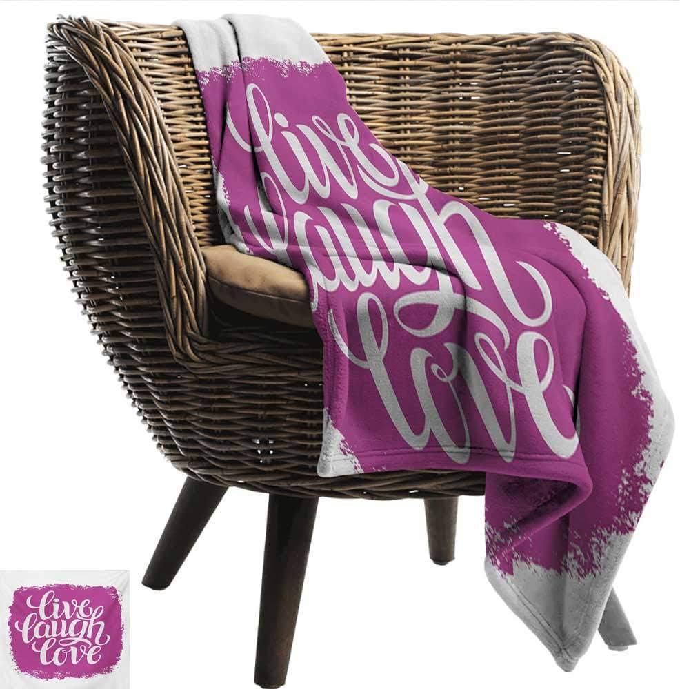 "EwaskyOnline Live Laugh Love Blanket Custom Photo Motivational Lifestyle Typography on Paintbrushes Urban Illustration car/Airplane Travel Throw (Travel Size) 60"" W x 40"" L Fuchsia White"