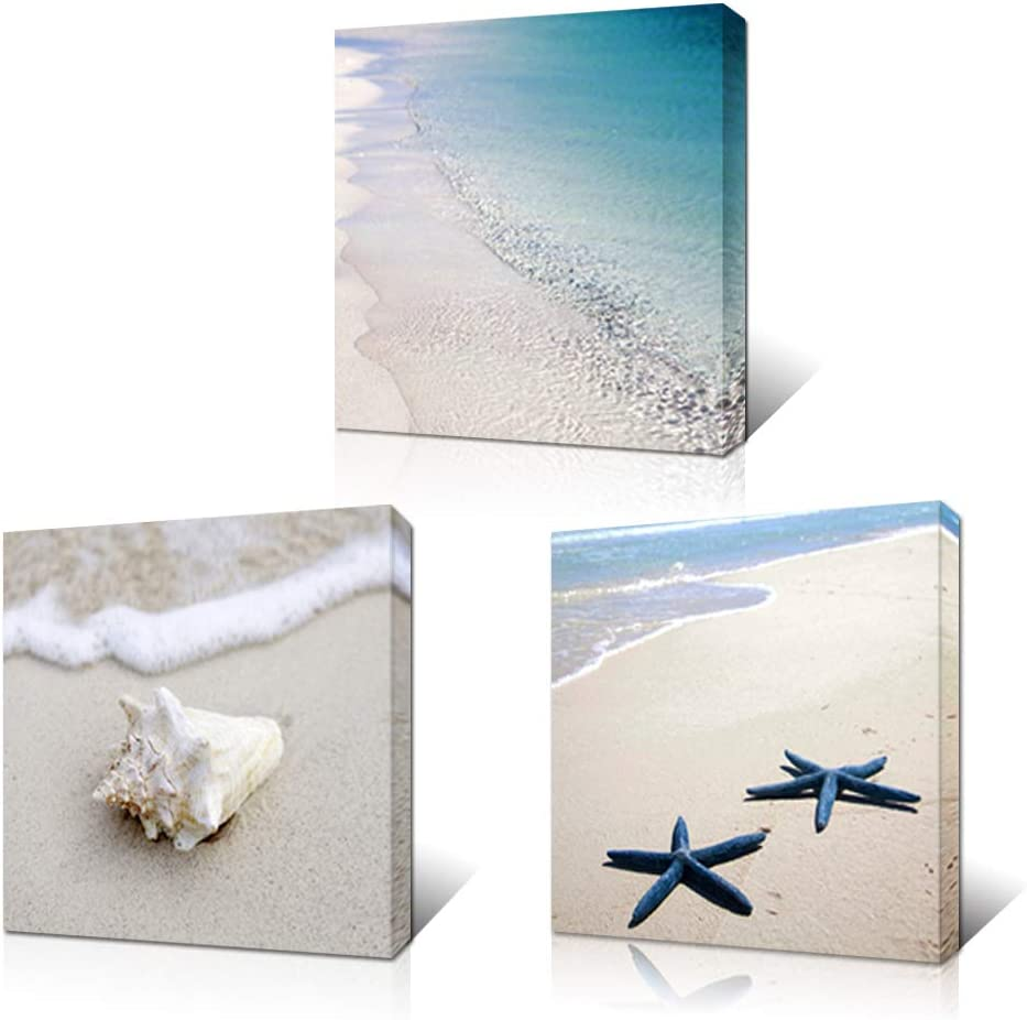 Artsbay Tropical Blue Sea Beach Canvas Giclee Print Sand Seascape Ocean Wave Shell Starfish Picture Painting 3 Piece Large Wall Art Decor Modern Home Bedroom Living Room Bathroom Framed Decoration
