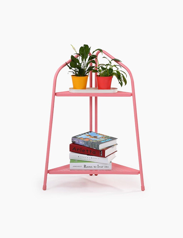 Zweistöckige Blumen Rack-Schienennetz einfache Art und Weise Durable Balkon Blumen Rack-Regale ( farbe : Pink )