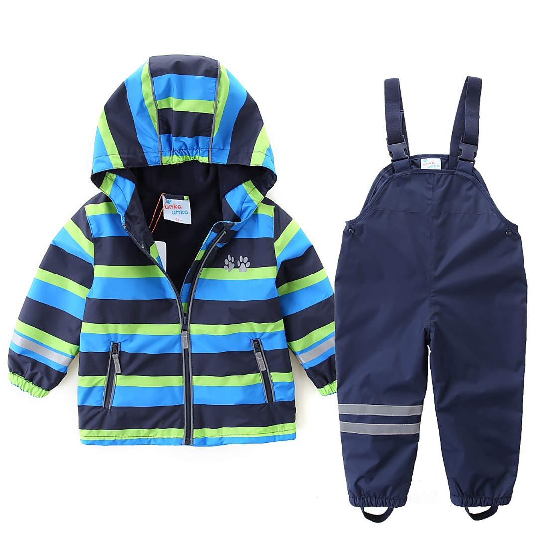 umkaumka Boys Girls Rain Suit Set Waterproof Jacket with Pants Kids Hooded Rainwear Set (4T (104)) by umkaumka