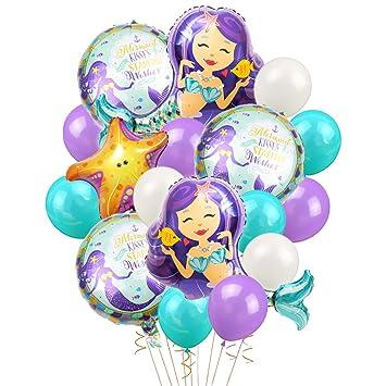 LUCK COLLECTION Globos de Sirena Fuentes de Fiesta de cumpleaños Mermaid Mylar Globos para Sirena bajo el mar Fiesta de cumpleaños Baby Shower ...