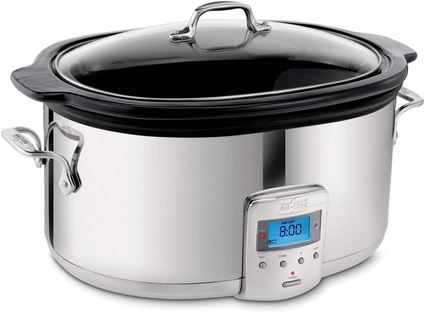 All-Clad SD700450 Programmable Oval-Shaped Slow Cooker with Black Ceramic Insert and Glass Lid, 6.5-Quart, Silver