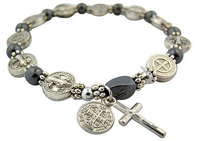 88fceb1a0d78f Bracelet chapelet Argenté Médaille de Saint Benoît Hématite Perle 19 ...