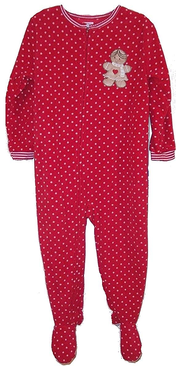 Carters Girls 3T Polka Dot Gingerbread Christmas Fleece Footed Pajama Sleeper