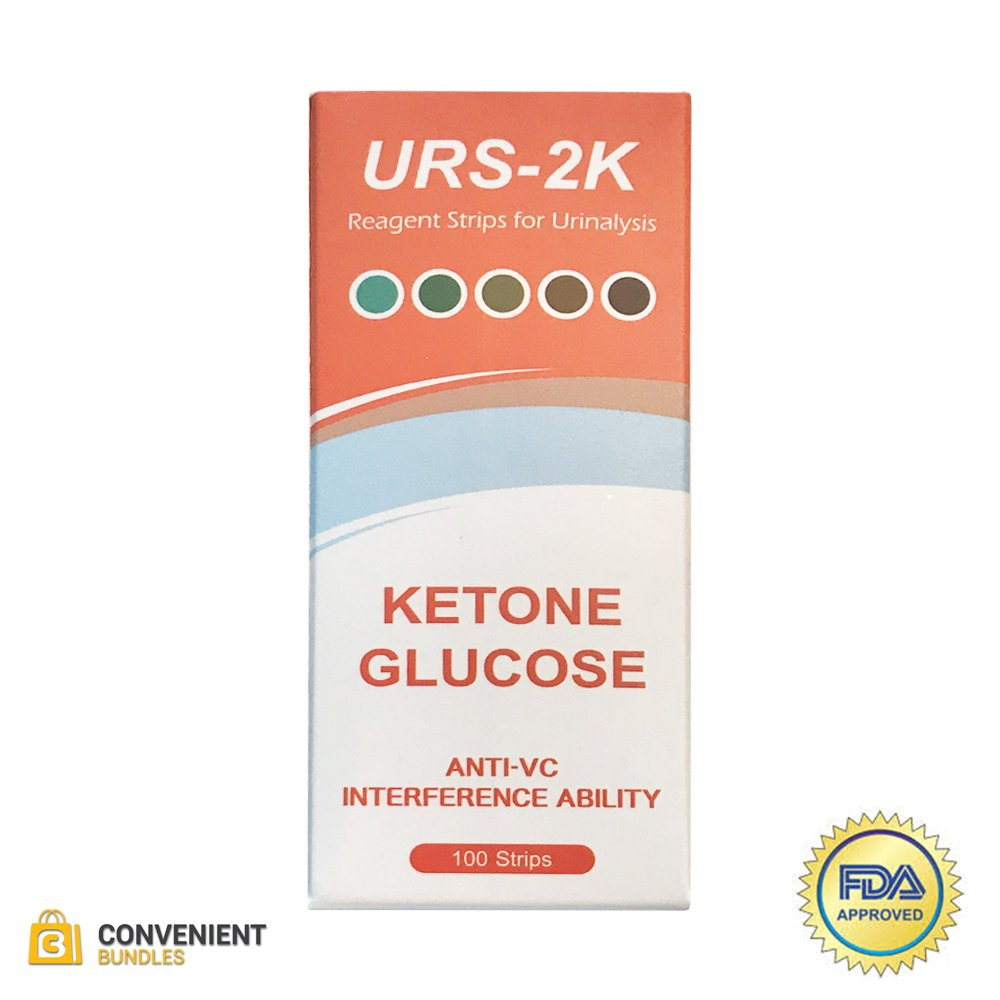 Convenient Bundles Ketone and Glucose Urine Test Strips – 100 Urinalysis Strips – for Diabetic, Paleo, Atkins, Ketone and Low Carb Diets – Quick and Easy at Home Testing