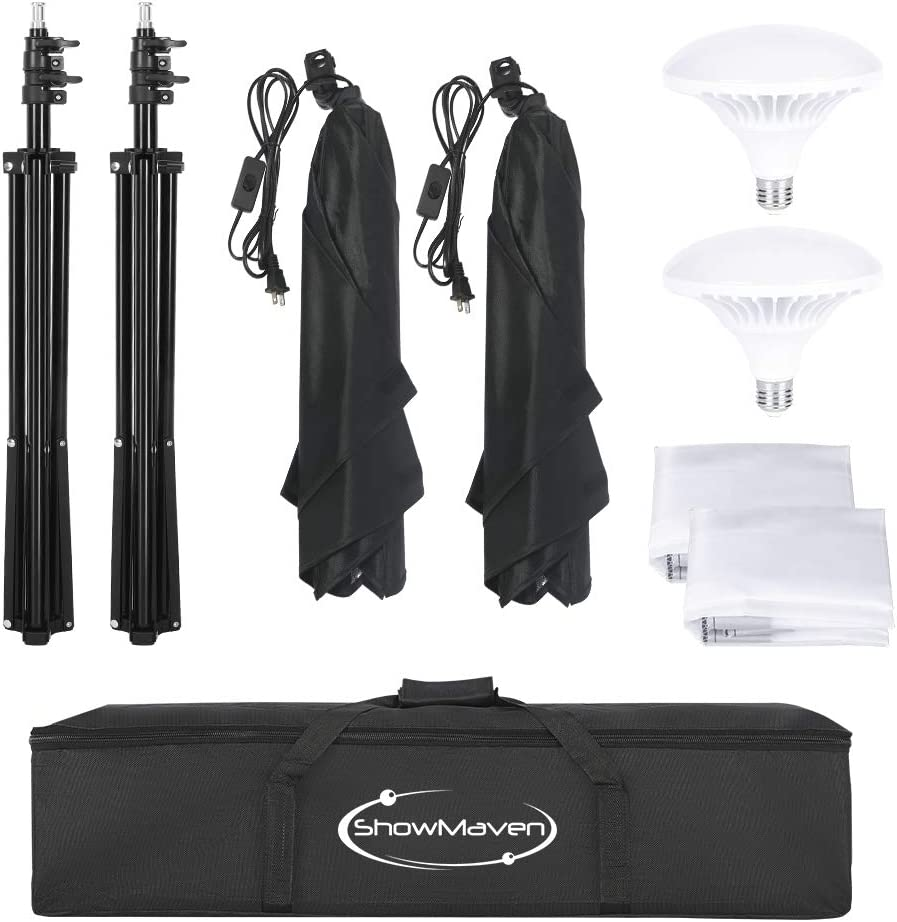 ShowMaven 900W LED Photography Softbox Video Lighting Kit 20x28 Inch Professional Photo Studio Equipment with Carry Bag and 2x45w Instant Brightness LED Lighting Bulbs