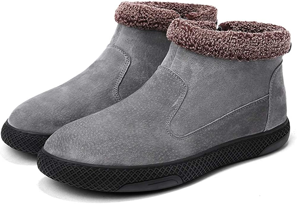 SJXIN-Mens Winter Boots Winter Men's Boots,Men's Fashionable Snow Boots Casual Wrap Side Zipper Winter Faux Fleece Inside Home Shoes Black