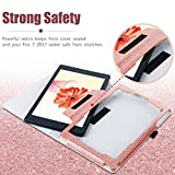 BENTOBEN Fire 7 Tablet Case 2017 Version, Luxury Sparkly Glitter Folio Stand Smart Cover with Stylus Holder Auto Wake/Sleep Slim Protective Tablet Case for Amazon Fire 7 2017 7th Generation, Rose Gold