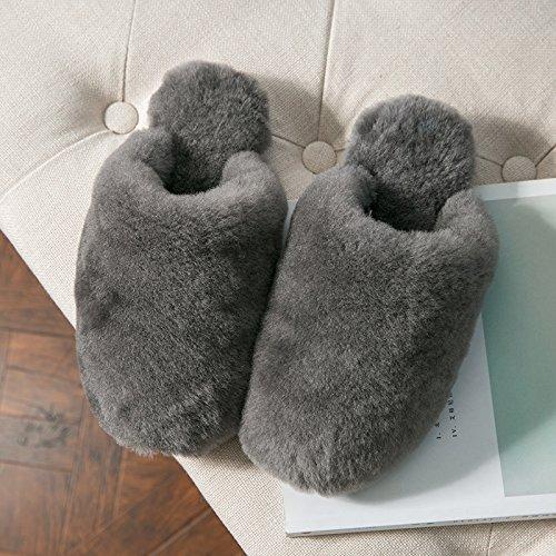 casa antideslizamiento cachemir zapatillas Gris Las LaxBa algodón de de damas tejidos p4Aznw8q