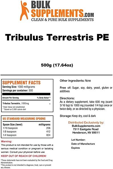 BulkSupplements Tribulus Terrestris Powder 500 Grams