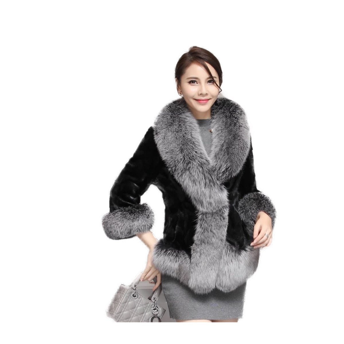 Womens Black Real Mink Fur Jacket Silver Fox Fur Collar Sheared Mink Jacket (XL, Silver)