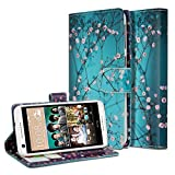 NageBee PU Leather Flip Folio Wallet Case for HTC Desire 626 / Desire 626s - Wallet Plum Blossom