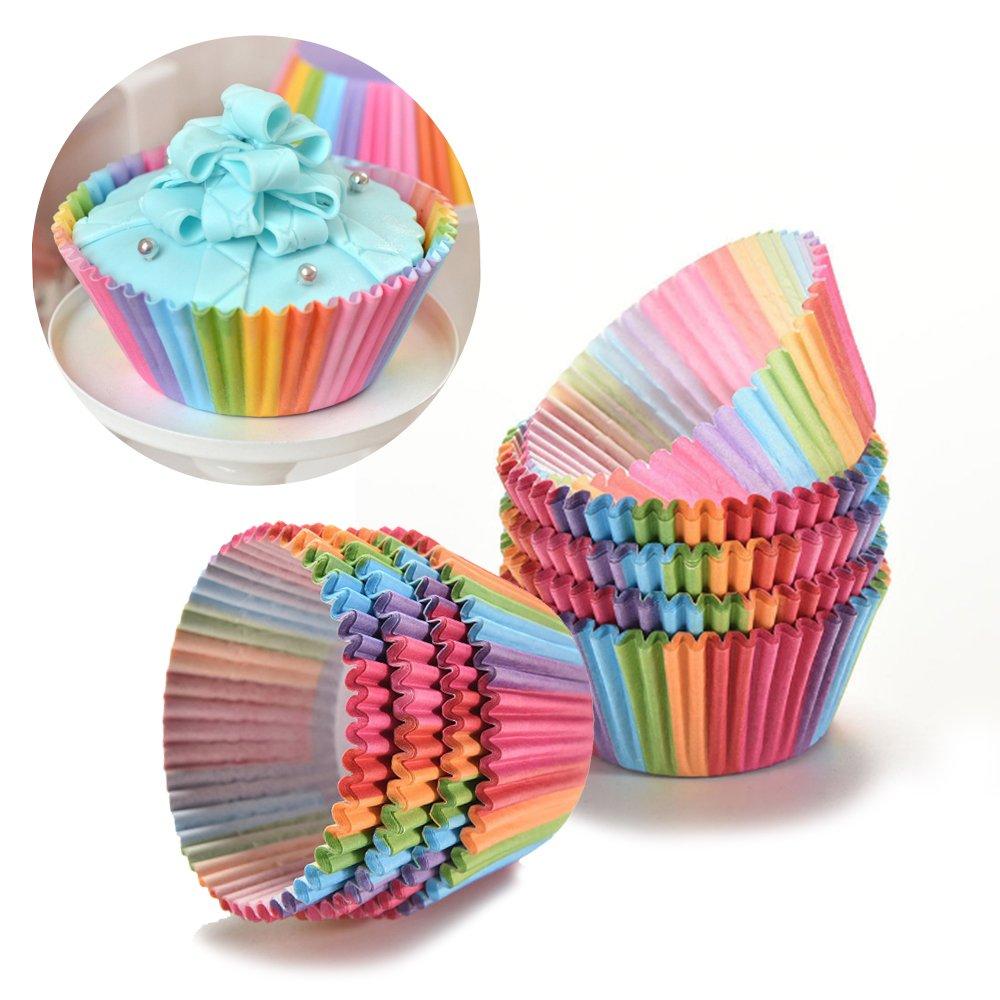 Juego de 300 cajas para cupcakes de arcoíris para repostería, boda o fiesta: Amazon.es: Bricolaje y herramientas