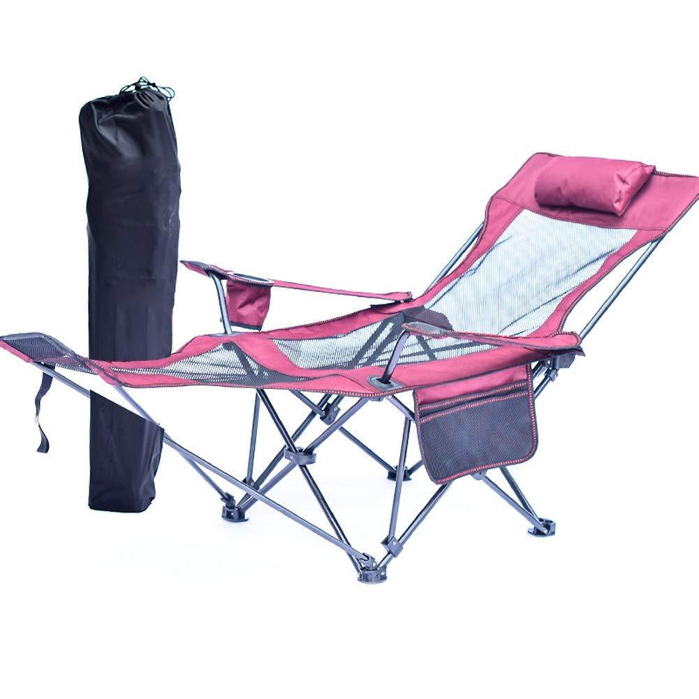 L&WB Chaise De Camping Pliable De Chaise De Camping Pliante Robuste, Chaise De Pliage Extérieure avec Repose-Pieds Chaise De Plage De Sac à Dos Ultra-Léger,D D -