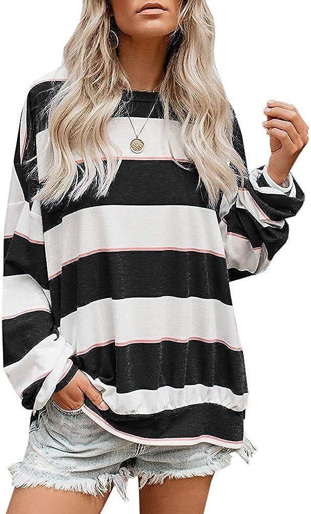 Eoeth Sweatshirt Pullover for Women Long Sleeve Tops Oversized Striped Tunics Blouses Pullover Sweatshirt
