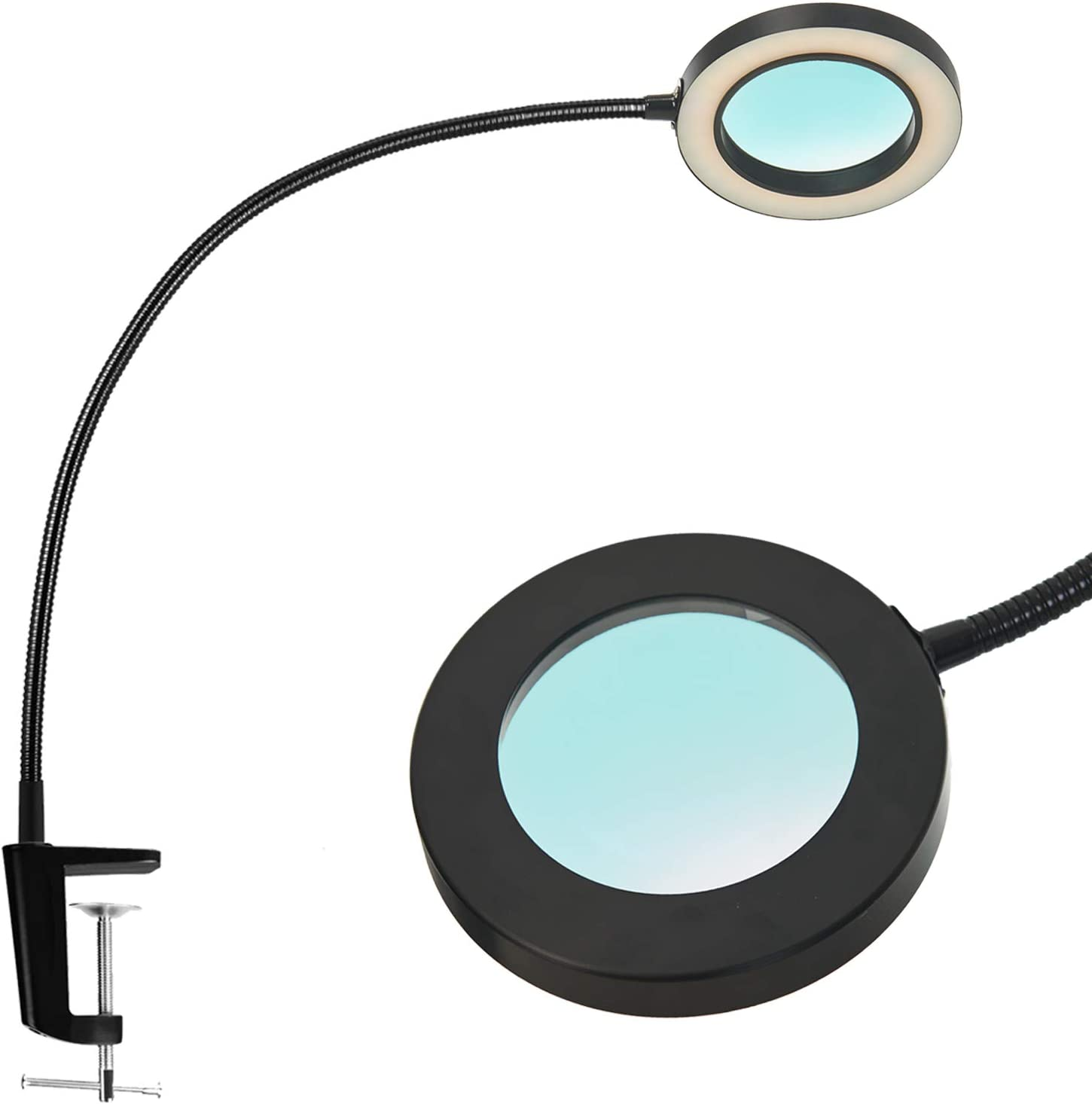 Psiven LED Magnifying Lamp with Clamp, Dimmable Magnifying Glass Desk Lamp with 19.7'' Gooseneck (3 Color Modes, 10W, 4.1' Glass Lens, 5 Diopter) Adjustable LED Light for Close Work, Reading, Crafts