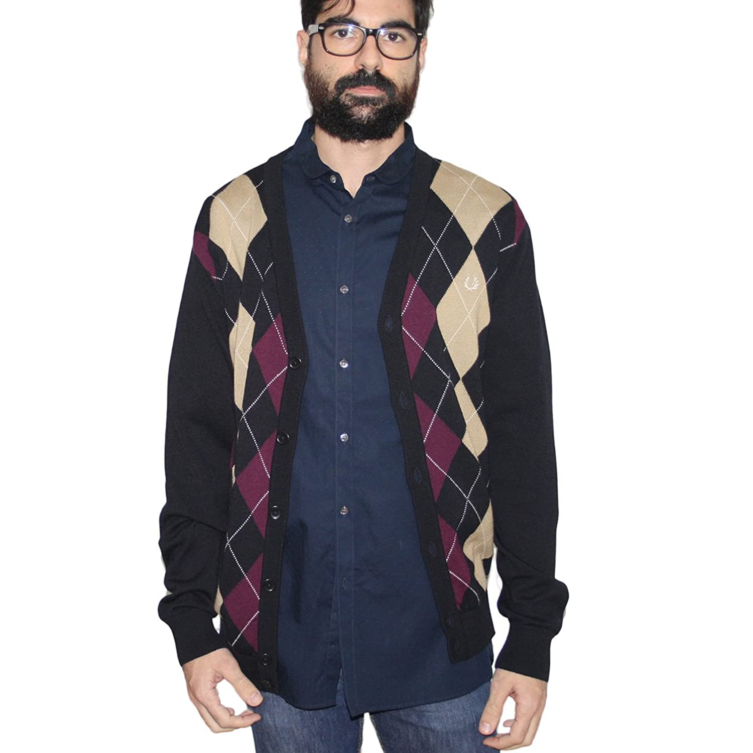 Fred Perry Men's Cardigan blue navy M