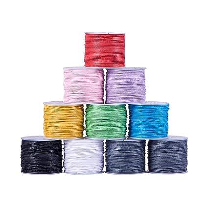 e02acd561d4a Pandahall Elite - Cuerda de algodón Encerado abalorio macramé (Mezcla de 6  Colores