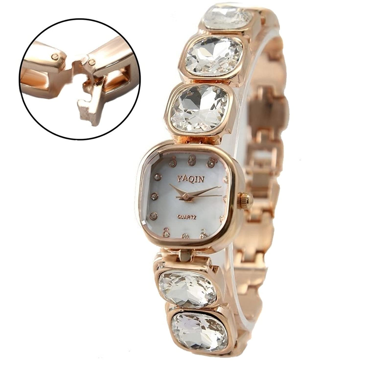 Square Rose Gold Tone Watchcase White Dial Ladies Women Bracelet Watch