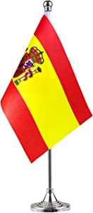 GentleGirl Spain Flag Spanish Flag Table Flag,Desk Flag,Office Flag,International World Country Flags Banners,Festival Events Celebration,Office Decoration,Desk,Home Decoration