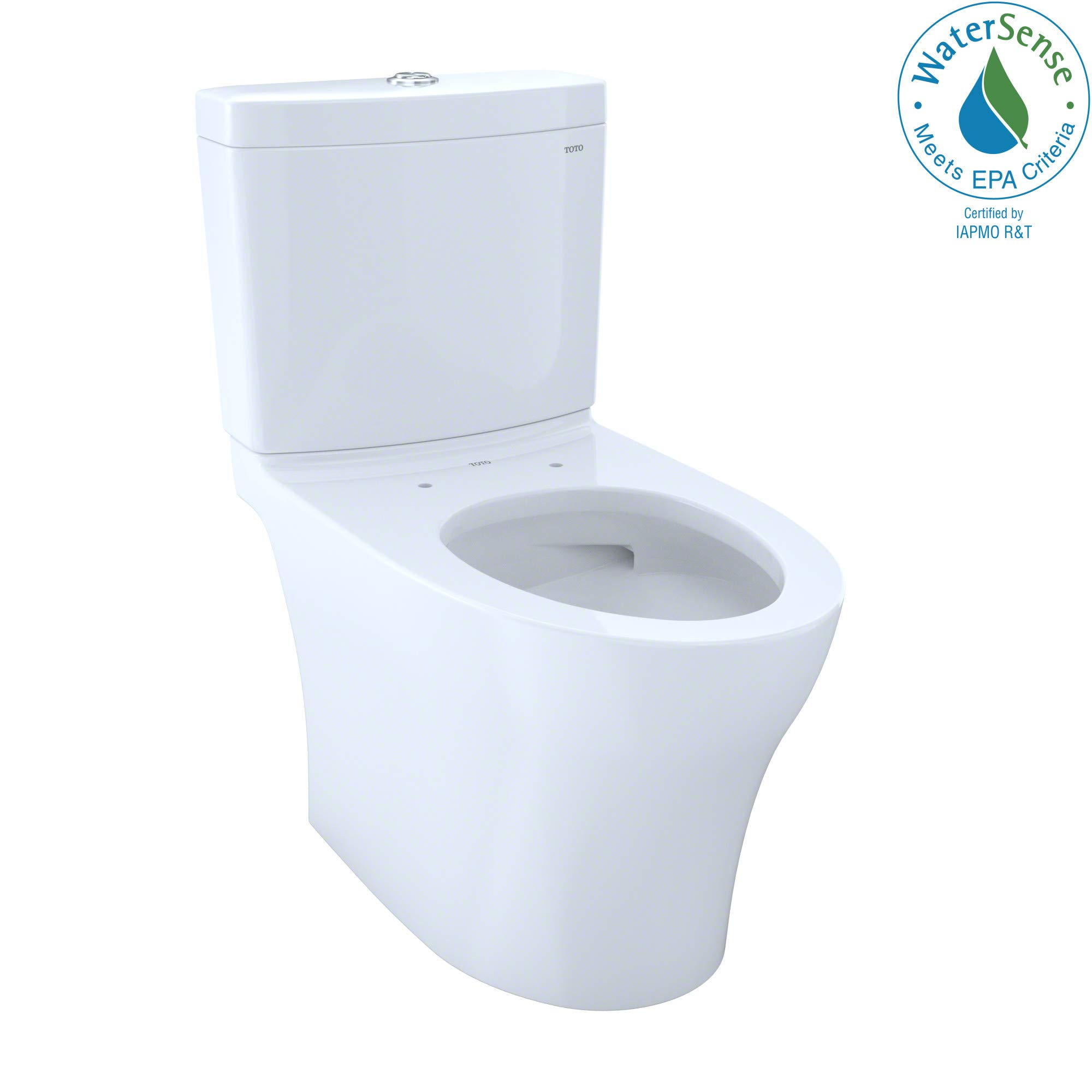 TOTO CST446CEMG#01 Aquia IV Elongated Dual Flush 1.28 and 0.8 GPF Skirted CEFIONTECT two-piece-toilets, Cotton White by TOTO