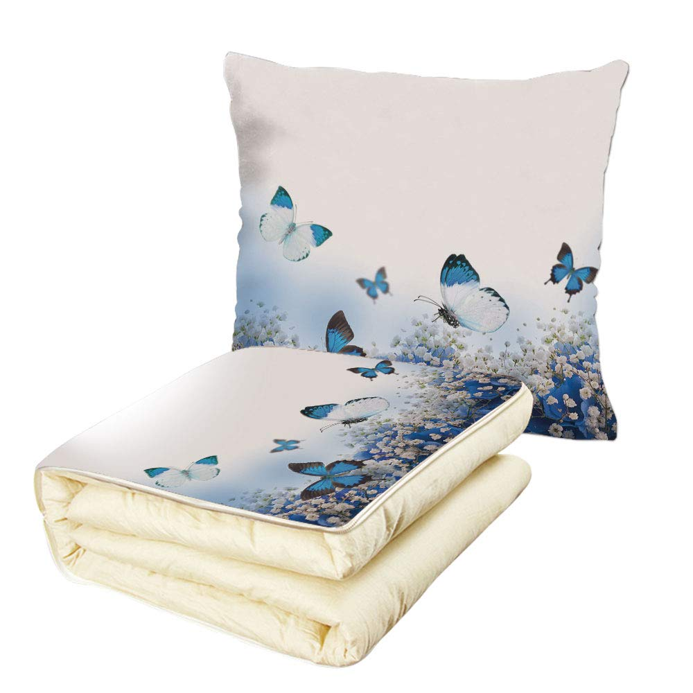 Quilt Dual-Use Pillow Light Blue Blue Hydrangeas and Butterflies Rural Scenery Freshness Spring Yard Garden Decorative Multifunctional Air-Conditioning Quilt Blue Black White by iPrint
