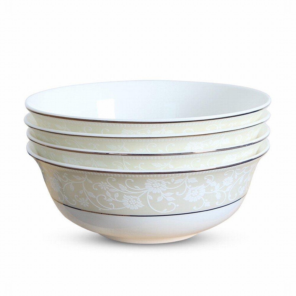 MJK Forniture per la Casa Di Cucina, Ciotola in Ceramica Set Casa Cinese Di Mangiare Ciotola Di Riso Ciotola da 6 Pollici Grande Zuppa 4 Pack Stoviglie,J,6 pollici