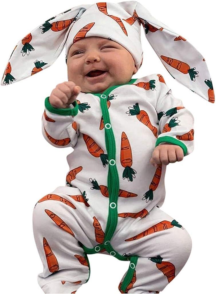 Infant Toddler Girls Boys Romper Undershirts 3-18 Months Cartoon Carrot Print Jumpsuit+Rrabbit Ears Hat Set