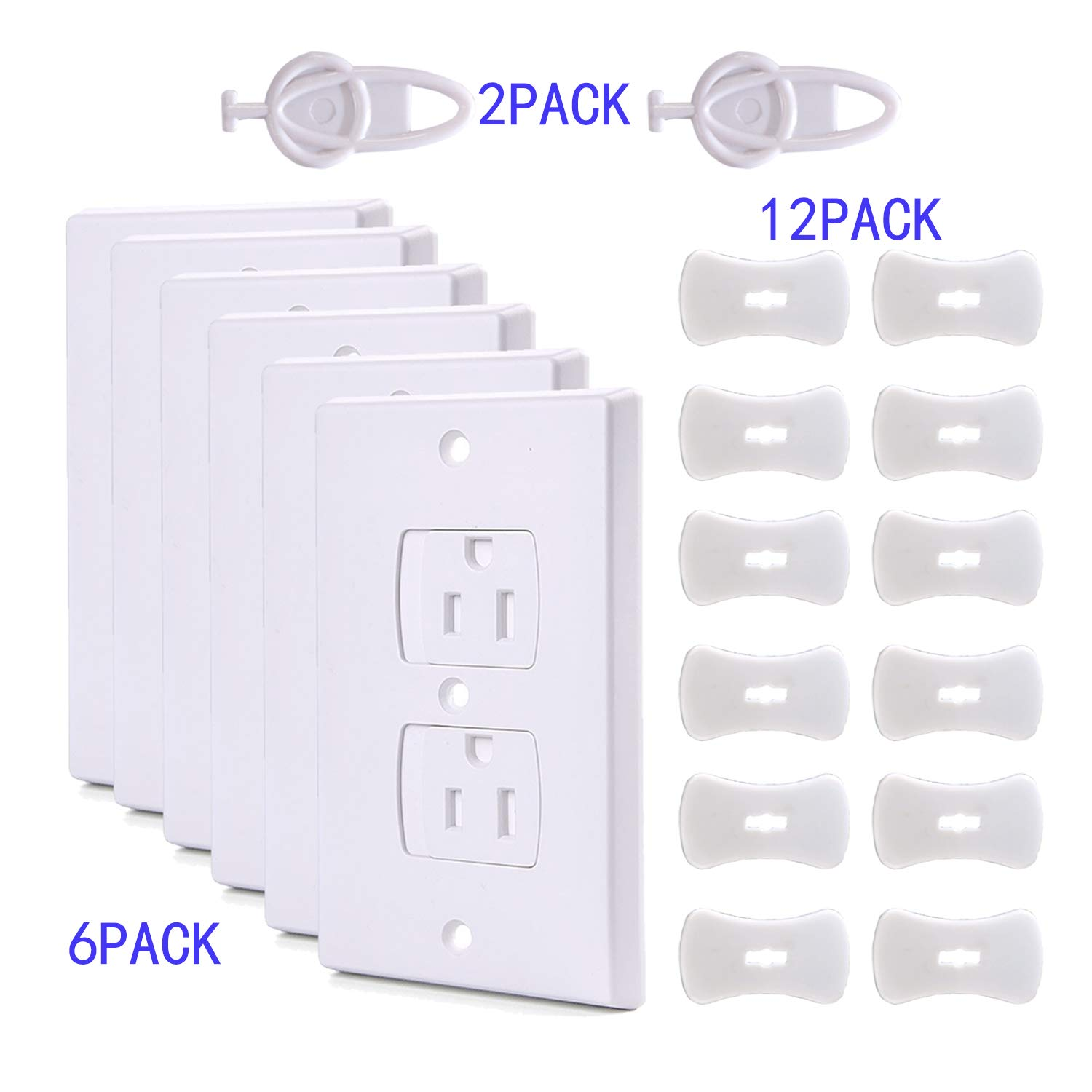 Teekland 6 Self-Closing Electric Outlet Covers and 12 Plug Covers, Outlet Protectors(2 Keys) Baby proofing Outlet Plug Covers,Electric Socket Covers for Child Proofing