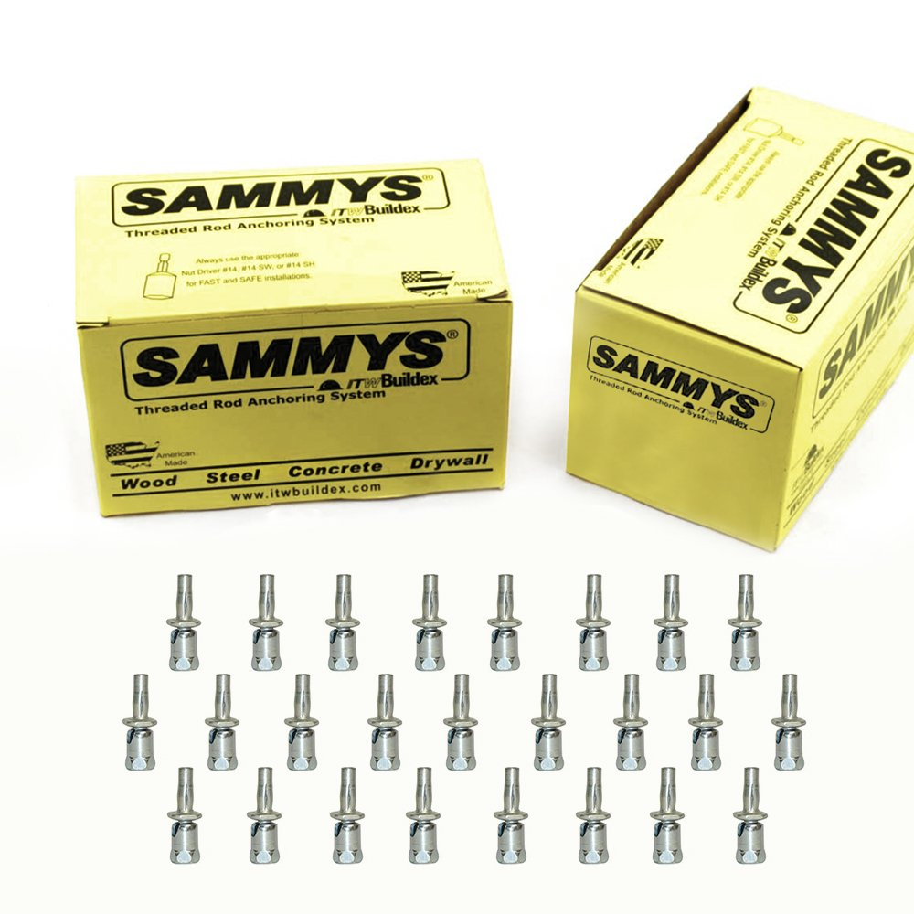 Everflow Sammys 8294922-50 SXP 20 3/8 Inch Screw Swivel Expandable Thread Rod Anchor Design for Pipe Hanger, Install Vertical Upto 45 Degrees, No Predrilling Required, Electro-Zinc Finish (Pack of 50)