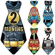Original Stick'Nsnap (TM) 17 Baby Monthly Necktie Onesie Stickers -  Happy Heroes  (TM) Milestones for 12 Months +5 Bonus Milestones - Great Baby Shower Gift!