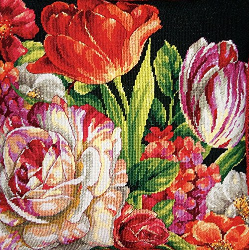 (Dimensions Needlepoint Kit, Bouquet on Black Floral Pattern, 14'' x 14'')