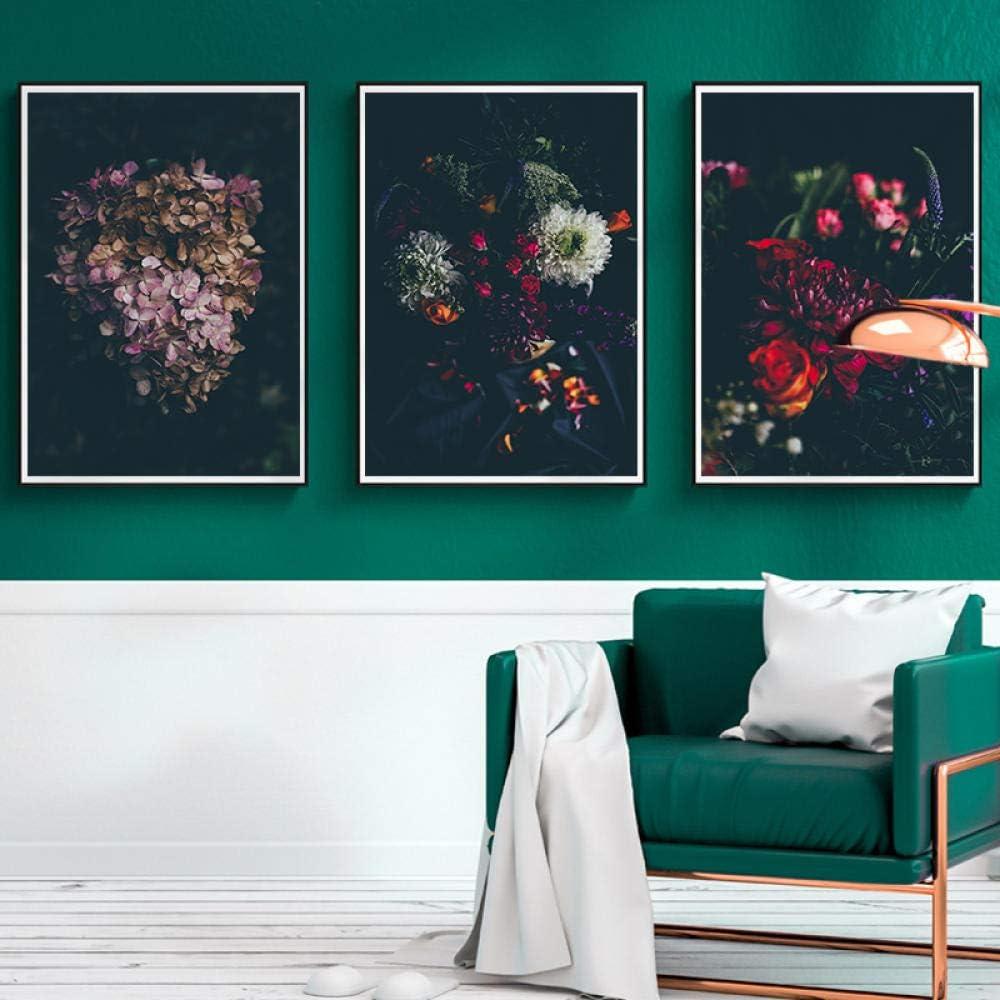NOBRAND Nórdico Moderno Lienzo Pintura Fondo Oscuro Flores Cartel Pared Arte Cuadros para Sala Dormitorio Comedor estudio-50cmx75cmx3pcs sin Marco