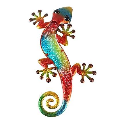 Liffy Gecko Wall Art Lizard Outdoor Decor Metal Glass Garden Decorations Red 15 Long