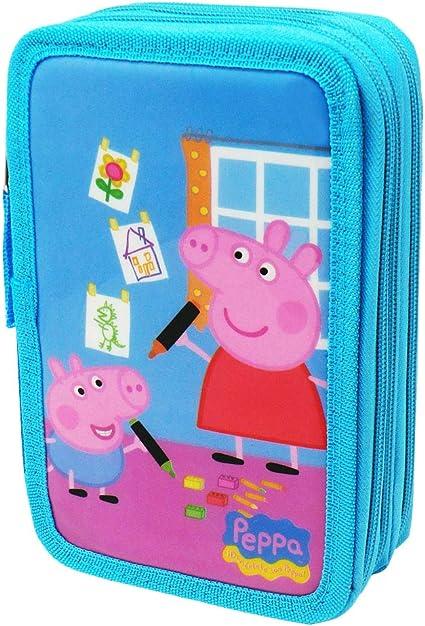 cucuba® Estuche Peppa Pig a tre piani para 44 piezas – idea regalo, color Colore: Blu, Bambino: Amazon.es: Oficina y papelería
