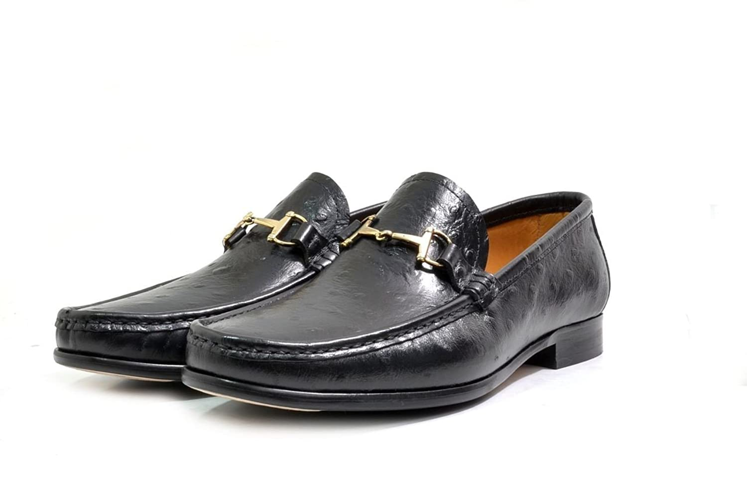 Men's VITELO Snaffle Trimmed Leather Ostrich Print Loafer Shoes 192-17:  Amazon.co.uk: Shoes & Bags