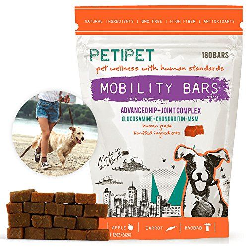 Petipet Dog Joint Supplement Chews - Glucosamine Chondroitin & MSM 180 Bars Chewable Canine Mobility Bars for Advanced Arthritis & Hip Pain Relief - Human Grade Health Food (250 Mg 180 Chewable)
