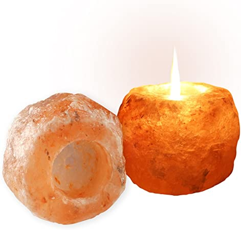 Salt Gems Himalayan Rock Salt - Portavelas purificador de aire, color rosa (2 unidades): Amazon.es: Hogar