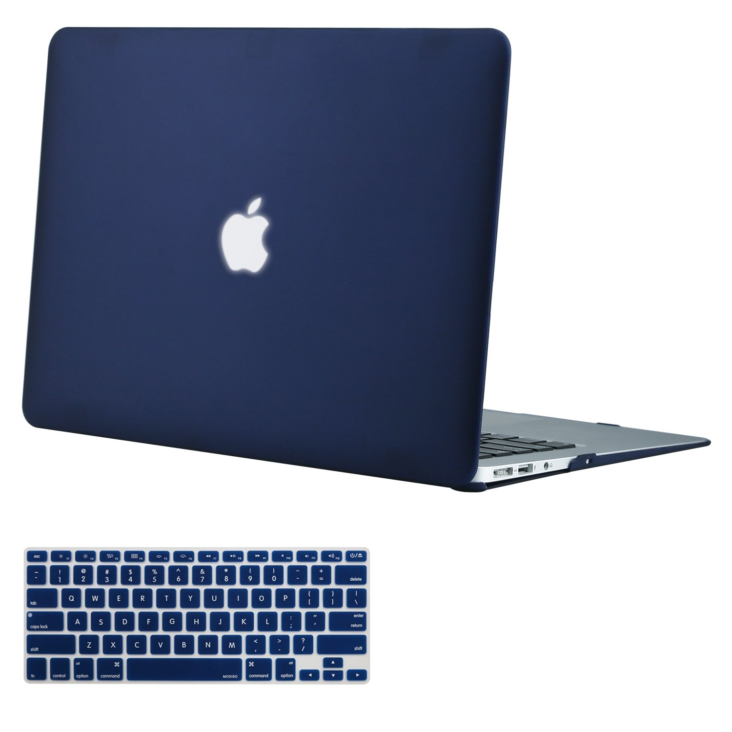 MOSISO Plastic Hard Shell Case & Keyboard Cover Compatible MacBook Air 13 Inch (Models: A1369 & A1466), Navy Blue