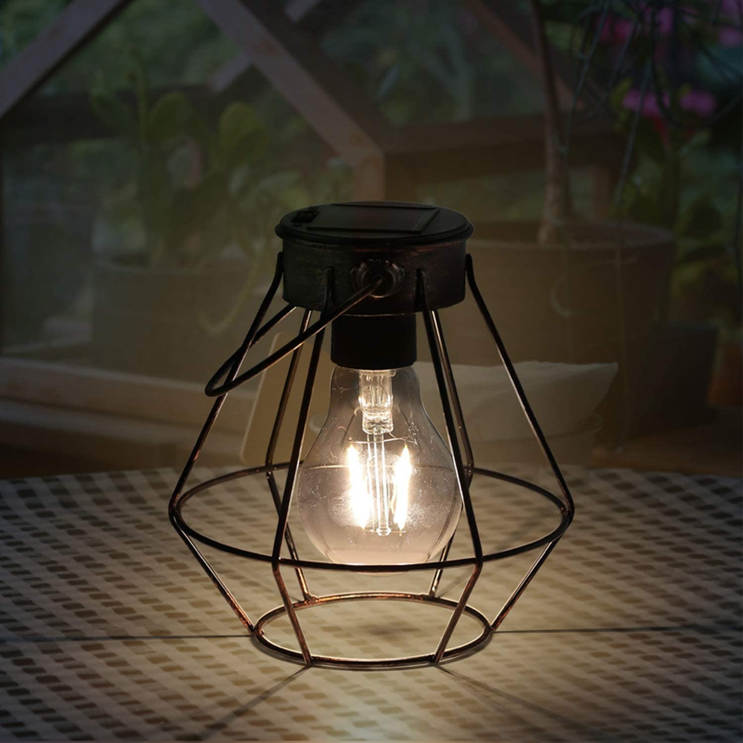 """Solar Lanterns Outdoor Hanging 6.1""""Small Design with Upgrade Waterproof Warm White LED Bulbs Hanging Solar Lights Metal Vintage Solar Lamp for Garden Patio Courtyard Lawn Landscape Decor"""