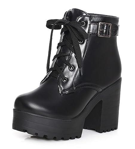 SHOWHOW Damen Dicke Sohle Blockabsatz Kurzschaft Stiefel Mit Schnürsenkel Schwarz 37 EU vEBxskXf
