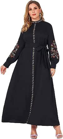 فساتين نسائية من ميا اند فن، فساتين اسلامية بمقاسات كبيرة، فستان طويل، فساتين باكستانية للنساء باكمام طويلة مطرزة بالزهور