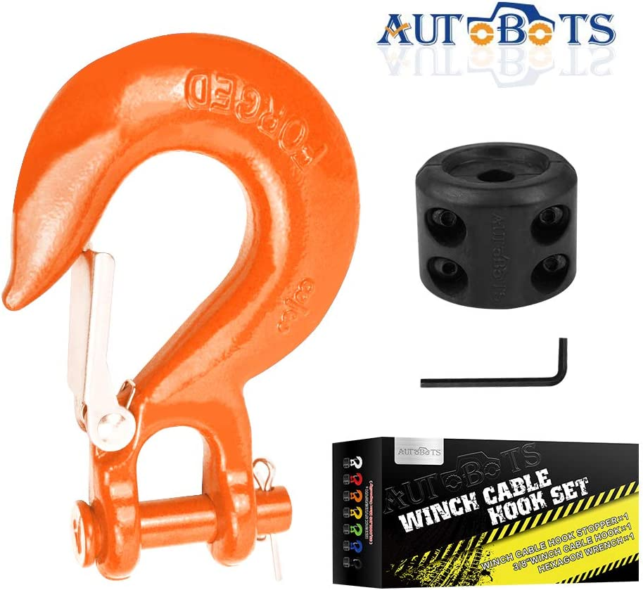 Max 35,000 lbs,Black Included Allen Wrench AUTOBOTS Grade 70 Latch Clevis Slip Hook /& Winch Cable Hook Stopper Sets with Heavy-Duty Forged Steel 3//8