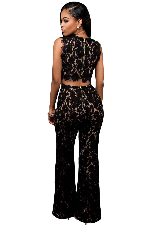 a7dd02efc5b Ladies Elegant Black Lace Wide Leg Jumpsuit Catsuit Club Wear Clothing  Festival Party Size M UK 10 EU 38  Amazon.co.uk  DIY   Tools