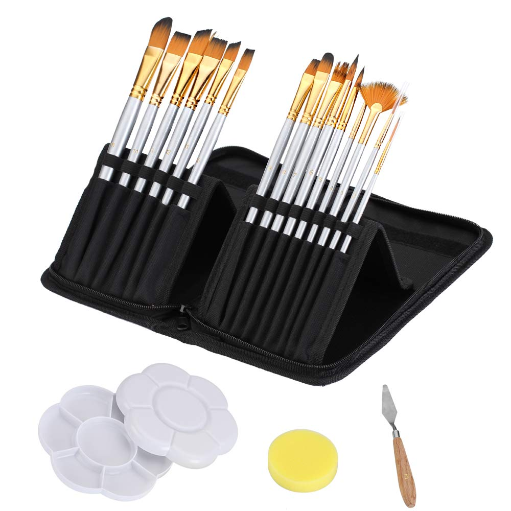 CADITEX Artist Paint Brush Set for Body Paint, Acrylics and Oil Paintings, 15 Different Shapes and Sizes with Free Painting Knife, Painting Palette and Watercolor Sponge (Black)