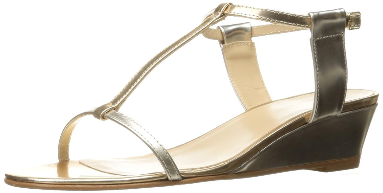 Amalfi by Rangoni Women's Mondiale Wedge Sandal B01LZIT9ZF 9.5 B(M) US Beige/Metallic Combo